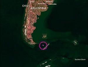 Zona dove il satellite Goce sarebbe caduto